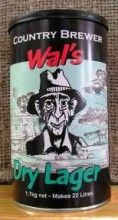 """Wal's Dry Lager is a clean crisp lager with floral and ever so slight, spicy overtones. This concentrate also contains a dry enzyme to produce a beer with a very dry finish. Lovers of a good cervesa will be impressed. Fresh hops added to the concentrate give an added hop """"punch"""" to the Wal's Range of beers."""