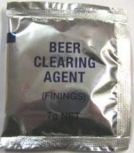 Finings are a gelatine based substance used to help clear beer and wine.