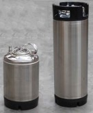 These brand new Stainless Steel Cornelius style post mix kegs are new and come with standard ball-lock fittings.  They are perfect for your home kegging system and are available in two sizes:      19 litre - 3 of these will fit comfortably in your keg fridge or Kegerator (21cm wide x 62cm high).     9.5 litre - Perfect for taking on picnics and to parties (21cm wide x 34cm high).