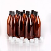 15 x 740ml PET beer bottles and reusable screw-on plastic caps.  Bottles are also reusable, lightweight and shatterproof.  *** It is recommended that you purchase replacement screw caps after