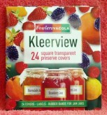 Fowlers Vacola Kleerview Covers comprise square cellophane sheets, labels and rubber bands - a complete storage system for your carefully prepared preserves, jams and jellies.